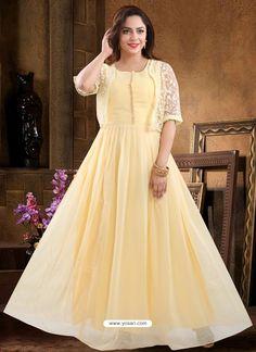 Trending Yellow Georgette Readymade Heavy Designer Suit