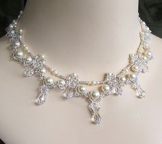 Cascading Bridal Teardrop Necklace Cream Pearl by BridalDiamantes