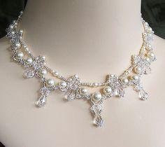 Cascading Bridal Teardrop Necklace Cream Pearl by BridalDiamantes