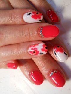 Marimekko nails with beautifully bling bling stones.