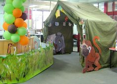 Love the idea of a tent at entrance of children room for dinosaur expedition