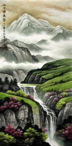 Chinese Landscape Painting by Liu Zhenghui. You can divide it three part to enjoy the painting. The upper is the distant scenery. The central is medium shot and the lower is your close-range.