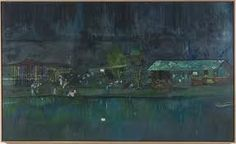 peter doig.  am in love with the night time sparkly lights of it all