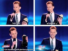 Tom Hiddleston - Best Villain, MTV Movie Awards 4-14-13 he looks pretty proud of himself with that lol