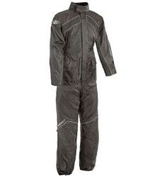 Joe Rocket RS-2: 100% waterproof soft polyester outer shell with PVC backing.  Full-length zipper with Velcro storm flap & collar.  Variable Flow ventilation on back.  Soft corduroy lined inner collar.  Full nylon comfort liner.  Elastic waist & Velcro adjustable cuffs.