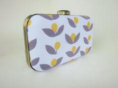 bridesmaid clutch purse gray yellow weddings by VincentVdesigns, $54.00