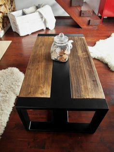 Handmade Rustic Old Wood & Black Steel Industrial Coffee Table - A perfect fusion of old and new, industrial and rustic, this beautiful bench table is made using th - Steel Furniture, Industrial Furniture, Rustic Furniture, Diy Furniture, Furniture Dolly, Furniture Removal, Furniture Online, Luxury Furniture, Reclaimed Wood Coffee Table