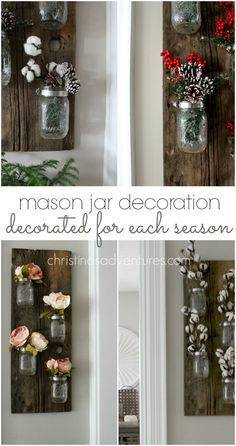 This DIY mason jar decoration can be made for less than $15 and it's SO simple to decorate for each season! The perfect farmhouse wall decor