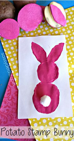 Use old potatoes to make a bunny stamp for Easter! It is super easy and fun for kids to make.