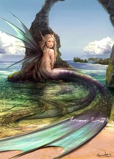 My name is Allison, I'm the daughter of an air spirit and a mermaid, my fins are large and winglike, and my tail splits into two near the end, giving me extraordinary speed when I swim, and I can change into an air spirit and fly. I have long blonde hair and deep green eyes, I lived with my mother away from the other mermaids until I came here to the kingdom (I'm assuming that mermaids have a castle and a kingdom)