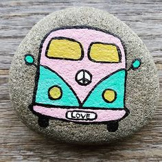 #hippievan #volkswagen #paintedrocks #peacesign #love #upcycled #acrylic #artistsofinstagram