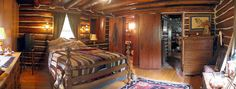 Log home Master Bedroom ~ I love this..only thing I would change is to remove the TV