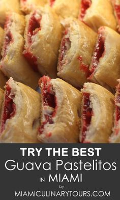 Try the best guava pastelitos in Miami. Pastelitos are a bite-sized pastry created by rich puff pastry enveloping a filling of cheese, guava, or meat. Nothing screams out Miami more, as they features one of the preferred foods in the area.