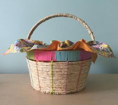 Woven Easter Basket in Pastel Colors With Glitter Eggs Cotton Reversible Cloth Decorative Orange Zigzag Edge Stitching Ready to Ship by SewforYou on Etsy