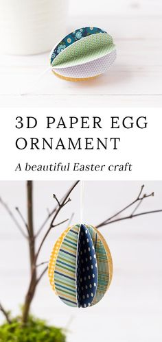 These darling Easter Egg Ornaments are perfect for Easter! Whether kids are learning about Easter, eggs, or simply enjoying a spring activity at home, this easy Easter craft is fun to make. #eastercrafts #eggornaments #papercrafts #preschool via @https://www.pinterest.com/fireflymudpie/
