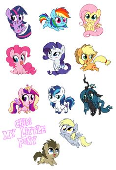 Chibi my little pony I have Rainbow Dash and Cadence. :P Derpy, Queen Chrysalis taken.