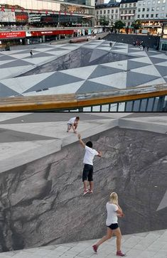 "Not the first 3D chalk art installation, but most certainly one of the coolest. It was created by Erik Johansson and designed to look like ""a large hole in the middle of Sergels torg public square in Stockholm, Sweden."