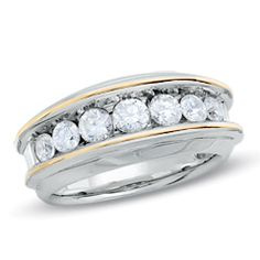 Men's 1-1/2 CT. T.W. Diamond Seven Stone Wedding Band in 10K Two-Tone Gold - Jewelry Rings PV - Gordon's Jewelers