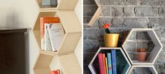 Love these floating white honeycomb shelves