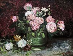 Van Gogh Vase with peonies and roses 1886