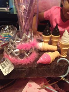 """Princess birthday party- beauty bar. Girls filled their own """"favor bags"""" with trinkets."""