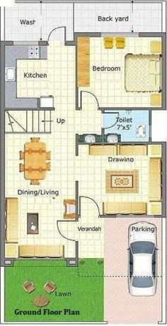 A Duplex house plan is for a single-family home that is built in two floors having one kitchen and dining. The duplex house plan gives a villa look and feel in small area. Town House Plans, 2bhk House Plan, Model House Plan, House Layout Plans, Bungalow House Plans, Dream House Plans, Small House Plans, House Layouts, Duplex Floor Plans