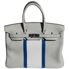 35cm Hermes Gris Pearl Taurillon Clemence Club Leather & Lizard Birkin Handbag | From a collection of rare vintage handbags and purses at http://www.1stdibs.com/fashion/accessories/handbags-purses/