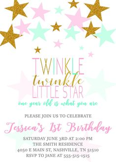Twinkle Twinkle Little Star First Birthday Invitation Pink
