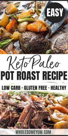Keto Low Carb Pot Roast Slow Cooker Recipe - Keto Low Carb Pot Roast Slow Cooker Recipe - The BEST slow cooker pot roast! Includes how to choose the cut of meat for pot roast, prep tips, freezing pot roast, & an easy pot roast slow cooker recipe. Healthy Pot Roast, Easy Pot Roast, Crock Pot Roast, Slow Cooker Pork Roast, Pork Roast Recipes, Slow Cooker Recipes, Paleo Recipes, Low Carb Slow Cooker, Free Recipes