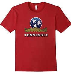 Tennessee shirt with a flag inspired mountain scene! This t-shirt can be a gift for men, women, or kids who are in love with Tennessee! Whether you live in Nashville, Chattanooga, Memphis or are just visiting this tee can be a souvenir!  Tennessee flag inspired shirt!