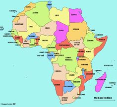 Afrique: carte cliquable Continents And Countries, Les Continents, Geography For Kids, Double Exposition, African Countries, Egypt, New York City, France, Culture