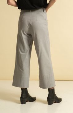 Wide leg, cropped trousers with pockets on the sides. Made from 100 % recycled materials in Loksa, Estonia. Wrap Jumpsuit, Cropped Trousers, Sustainable Fashion, Wide Leg, Legs, Grey, Collection, Dresses, Gray