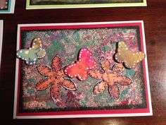 Dotted butterflies with flowers. Handmade card using Gelli plate and mixed media.