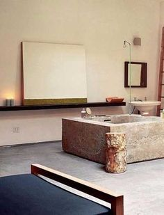 Inspirational images and photos of Loft Spaces : Remodelista Romantic Bathrooms, Timeless Bathroom, Beautiful Bathrooms, Concrete Bathroom, Bathroom Spa, Modern Bathroom, Stone Tub, Relax, Bathroom Images