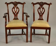Georgian style carved mahogany ribbon back dining chairs Set of
