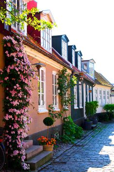 """""""Møllestien - a steet in Aarhus"""" by Ann Hung on Flickr - Mollestien is a true village idyll in the center of Aarhus.  Aarhus is the second largest city in Denmark and the country's main port.  It is located on the east coast of the Jutland peninsula in the geographical centre of Denmark.  Those colorful and characteristic houses are called """"outhouses"""" or """"booths"""".  Today Mollestien is a picturesque cobbled street and is regarded by many as being the most beautiful street in Aarhus."""