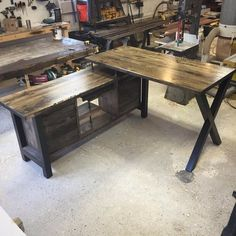 Executive Desk- Executive standing height desk with a clean cut design utilizing a mixture of authentic barn wood and industrial style Pictured table Upper – x x Lower – x x Industrial House, Rustic Industrial, Standing Desk Height, Picture Table, Reclaimed Doors, Modern Desk, Kitchen Decor, Kitchen Ideas, Decoration