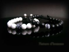 Bracelets couple black and white pierres