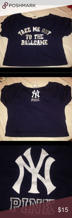 😜LAST CALL Victoria'S Secret New York Yankees Cro Victoria'S Secret New York Yankees Crop Top  Some fading on silver foil  No pilling Still dark navy   Show big team spirit in one hot little tee. Printed metallic graphic on front and printed graphic on back. Boxy fit. Sits above waistline. Imported ... PINK Victoria's Secret Tops Crop Tops