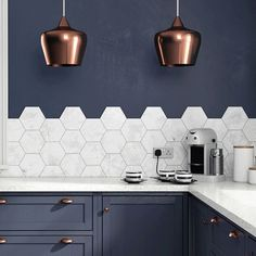wall mounted hexagon tile with pattern...