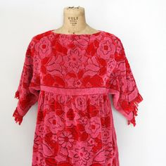 863b570a74 vintage 60s Red and Pink Floral Cotton Terry Cloth Towel Mini Dress Robe