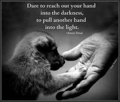 Dare to reach out your hand into the darkness, to pull another hand into the light. -- Via: One Voice for Animal Rights Dog Quotes, Animal Quotes, Life Quotes, Pull Quotes, Dog Sayings, Daily Quotes, Funny Quotes, Great Quotes, Quotes To Live By