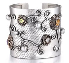Sara Blaine Sterling Silver and 5K Gold with Semi-Precious Gemstones and Fresh Water Pearls Cuff Bracelet (5730SS/5K)