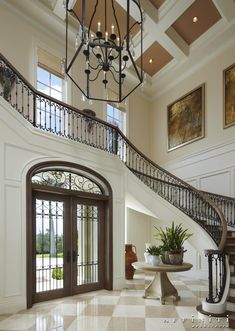 Extremely luxury entry hall designs with stairs home interior design hallway sustainable interior ideas Foyer Design, Hall Design, Railing Design, Staircase Design, House Design, Luxury Staircase, Modern Staircase, Grand Entryway, Entry Hall