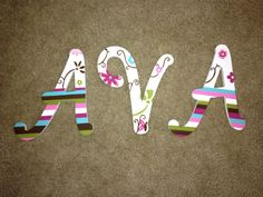 Personalized Hand Painted Wooden Letters on Etsy, $42.00