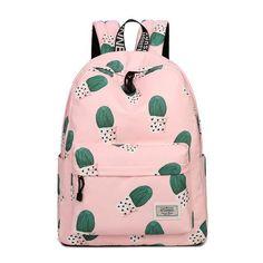Fashion Backpack Women Travel Cactus Printing Multi-Functional For Teenager Girls School Bags Shoulder Bolsas Mochila Feminina Cute School Bags, School Bags For Girls, Cute Backpacks, School Backpacks, Mochila Floral, Cactus Backpack, Women's Backpack, Pink Bookbag, Mochila Jansport