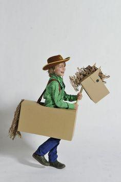 Faschingskostüme für Kinder selbergemacht-Cowboy mit Pferd aus Karton