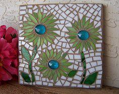 Stained Glass Mosaic Art - Mosaic Flowers - Daisy Wall Art - Wall Hanging - Wall Decor - Home Decor - Housewarming Gift