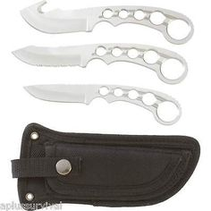 4 Piece Field Dress Knife Game Cleaning Set Bird Fish Survival Hunting Camping