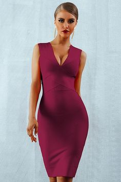 Sexy Deep V-Neck Bandage Tank Bodycon Dress – Luv Fashion Bodycon Dress Parties, Party Wear Dresses, Party Dresses For Women, Club Dresses, Casual Dresses For Women, Bandage Dresses, Teen Dresses, Sleeveless Dresses, Club Outfits